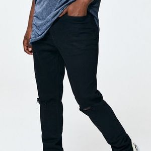 PacSun Stacked Skinny Distressed Black Jeans 34